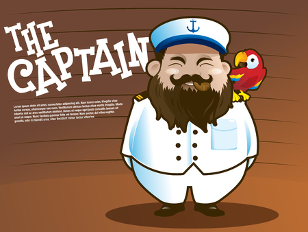 captain cap: Captain marine with parrot