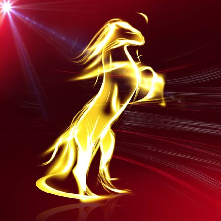 fiery: Golden Racing Horse in Red Background