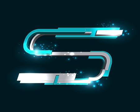 three dimensional: Three Dimensional Futuristic Font Illustration