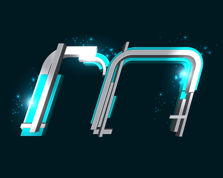 metal: Three Dimensional Futuristic Font Illustration