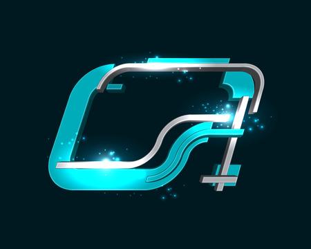 dimensional: Three Dimensional Futuristic Font Illustration