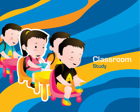 hardworking: Students Study in Classroom