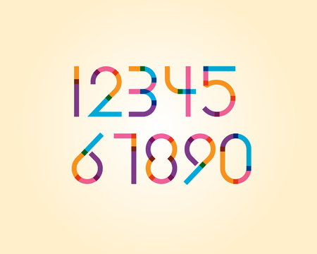 numeric: overlapping colorful sharp edge line font - regular numeric Illustration