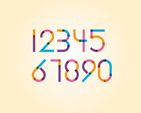 numeric: overlapping colorful sharp edge line font - regular numeric Illustration