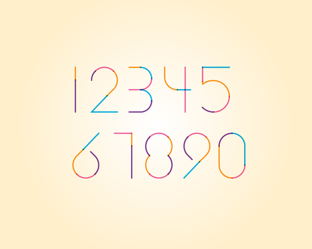 numeric: overlapping colorful sharp edge line font - Thin numeric