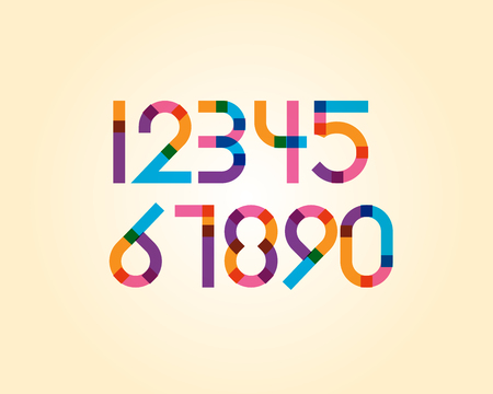 numeric: overlapping colorful sharp edge line font - Bold numeric