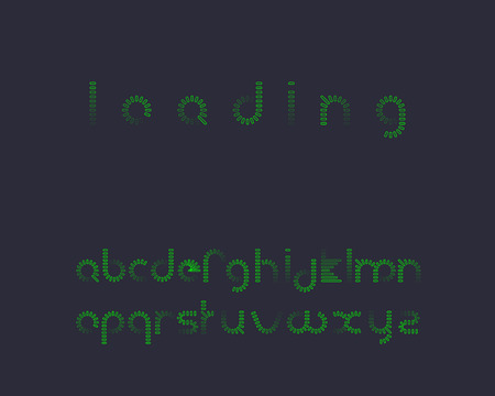 Ordinal: Loading font outline Illustration