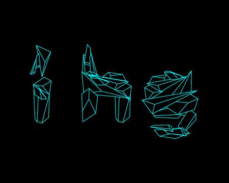 prisma: Prisma 3D de fuente - GHI Vectores