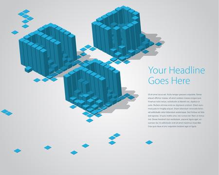 def: 3D Digital Pixel font - DEF. Design Template Illustration