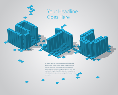 3D Digital Pixel font - STU. Design Template Illustration