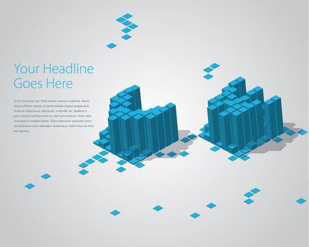 vw: 3D Digital Pixel font - VW. Design Template