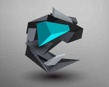 prism: 3D Prism Font - E
