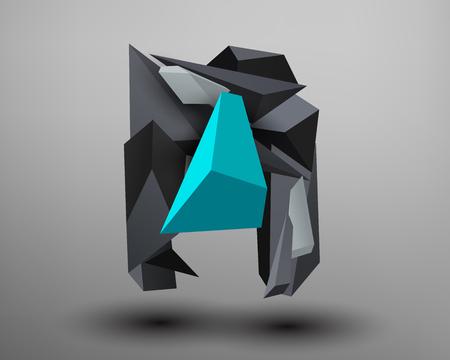 prism: 3D Prism Font - N Illustration