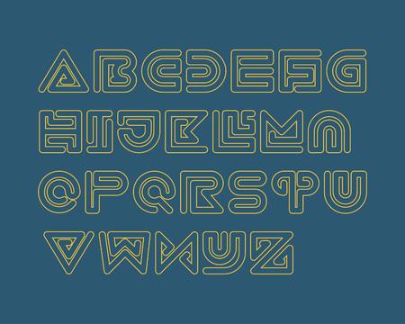 is outlined: Snake Stripe Font Set. Outlined Illustration