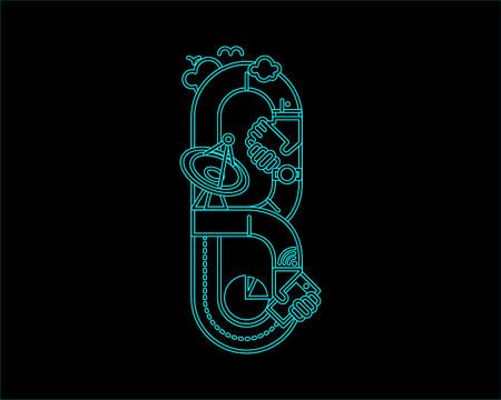 typeface: neon font icon typeface - B