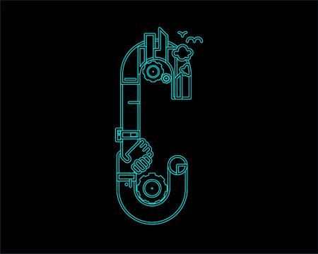 city live: neon font icon typeface - C