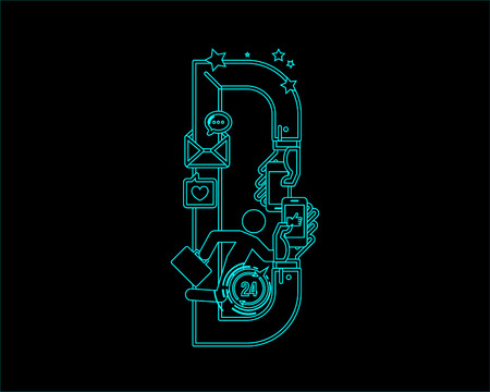 convergence: neon font icon typeface - D