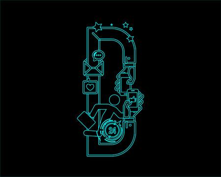 collaboration: neon font icon typeface - D