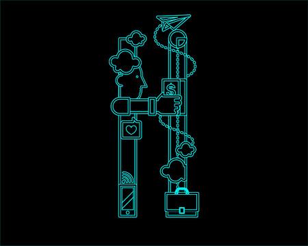 neon font icon typeface - H