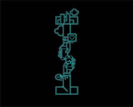 convergence: neon font icon typeface - I