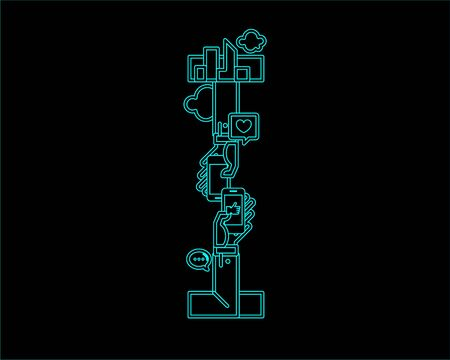 neon font icon typeface - I
