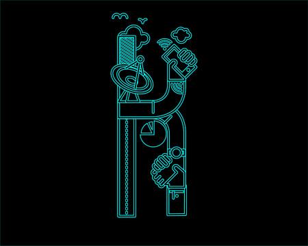 typeface: neon font icon typeface - K