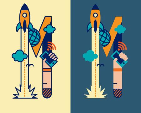 convergence: fonticon typeface - M Illustration