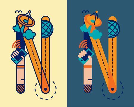 convergence: fonticon typeface - N Illustration