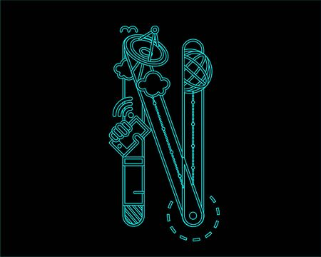 neon font: neon font icon typeface - N Illustration