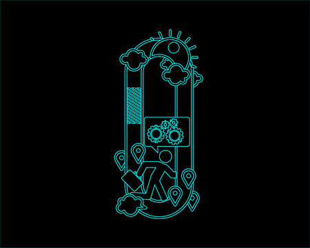 convergence: neon font icon typeface - O Illustration