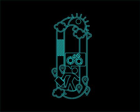 neon font icon typeface - O