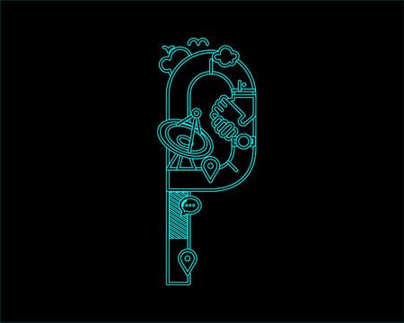 city live: neon font icon typeface - P Illustration