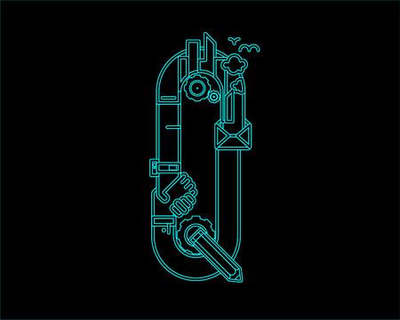 city live: neon font icon typeface - Q