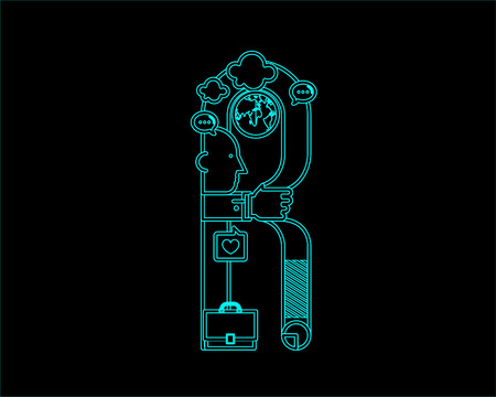 convergence: neon font icon typeface - R Illustration