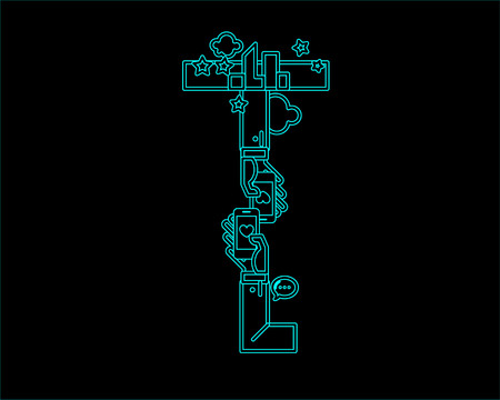 convergence: neon font icon typeface - T Illustration