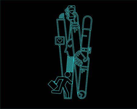 neon font icon typeface - W