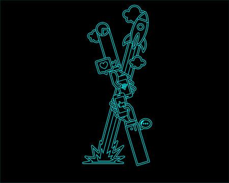 convergence: neon font icon typeface - X Illustration