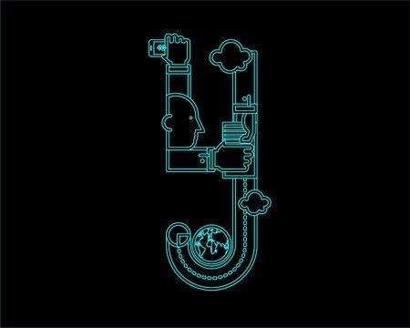 neon font: neon font icon typeface - Y Illustration