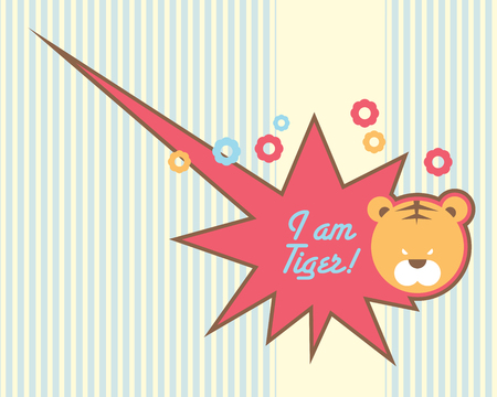 Cute tiger baby design template