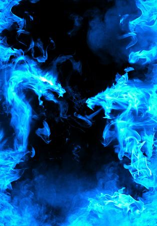 Abstracte blauwe vurige draak versus