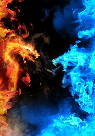 추상 파란색 대 빨간 불의 용