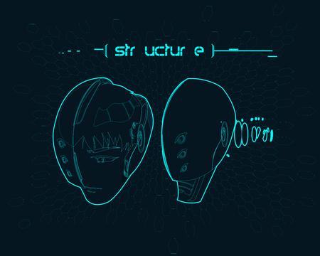 cyber warfare: Cyborg Helmet vector