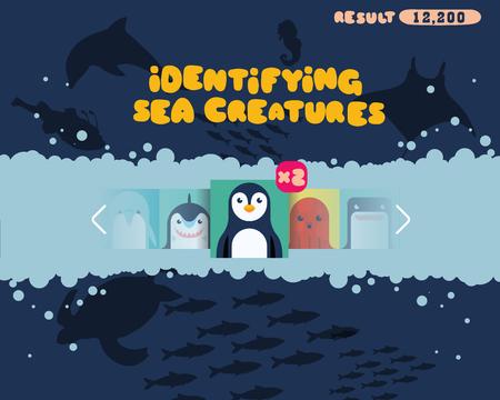 smart phone: Sea Creature Identification games vector