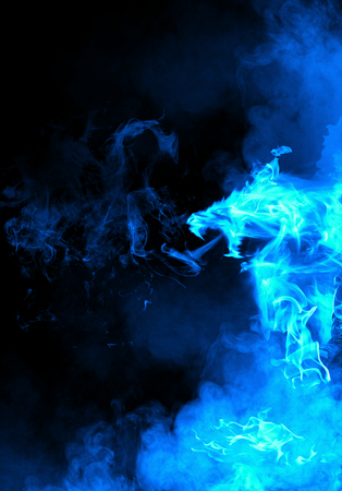 winged: Abstract blue fiery dragon Stock Photo