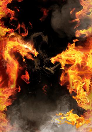 대 추상 빨간색 불 같은 용