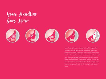 exfoliation: Basic women skincare steps. Illustration