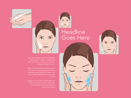 skincare: Basic women skincare steps. Illustration