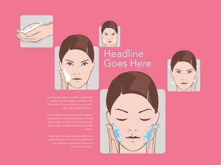 remover: Basic women skincare steps. Illustration