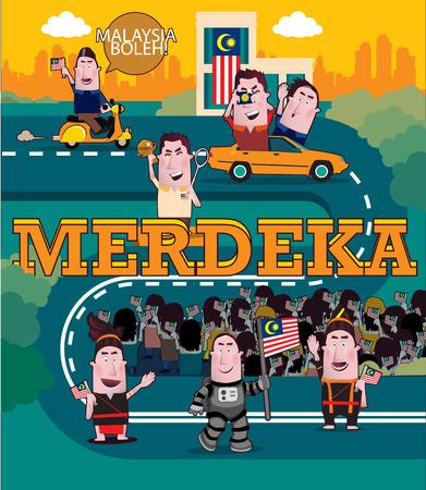 Happy Independence day. Translation Merdeka - Independence