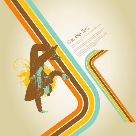 Silhouette breakdancer illustration.